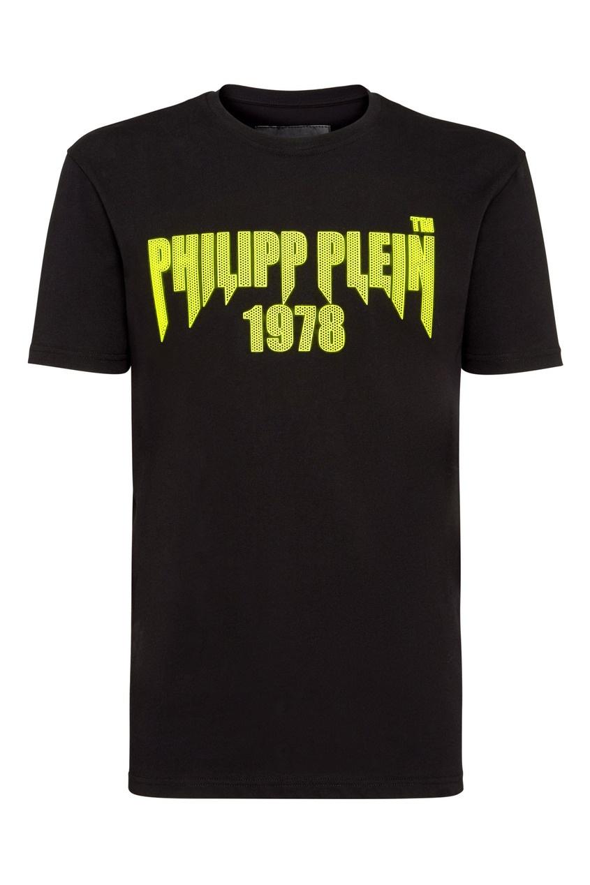 Черная футболка с перфорированной надписью от Philipp Plein