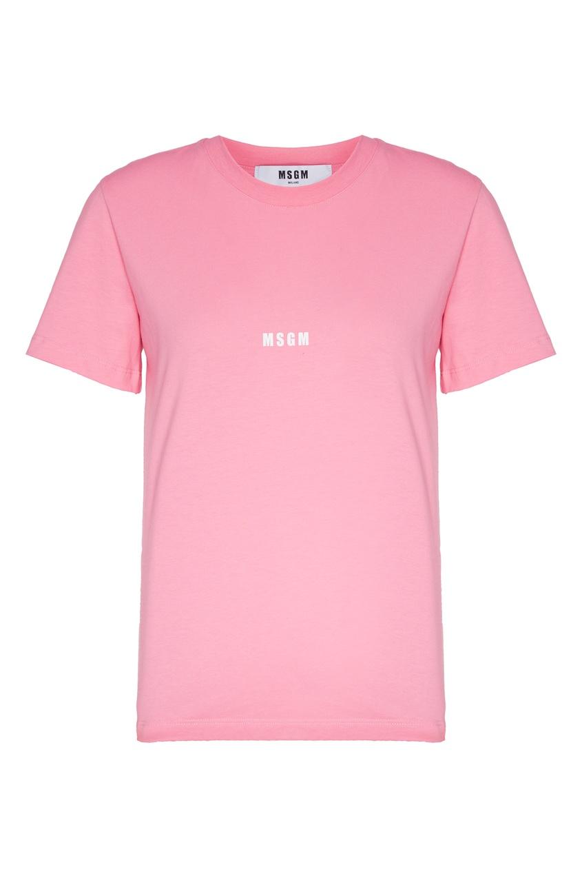 женская футболка с принтом msgm, розовая