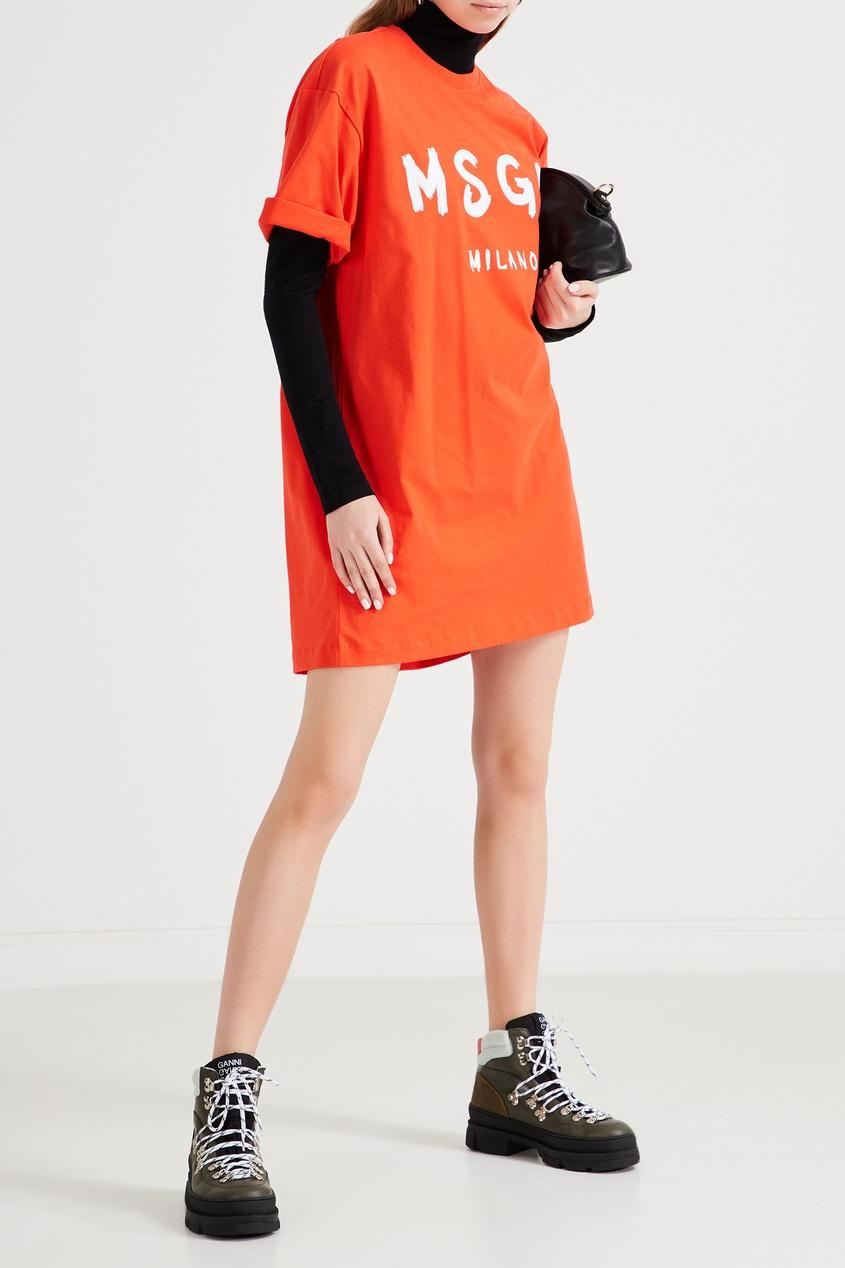 женское платье-футболки msgm, оранжевое
