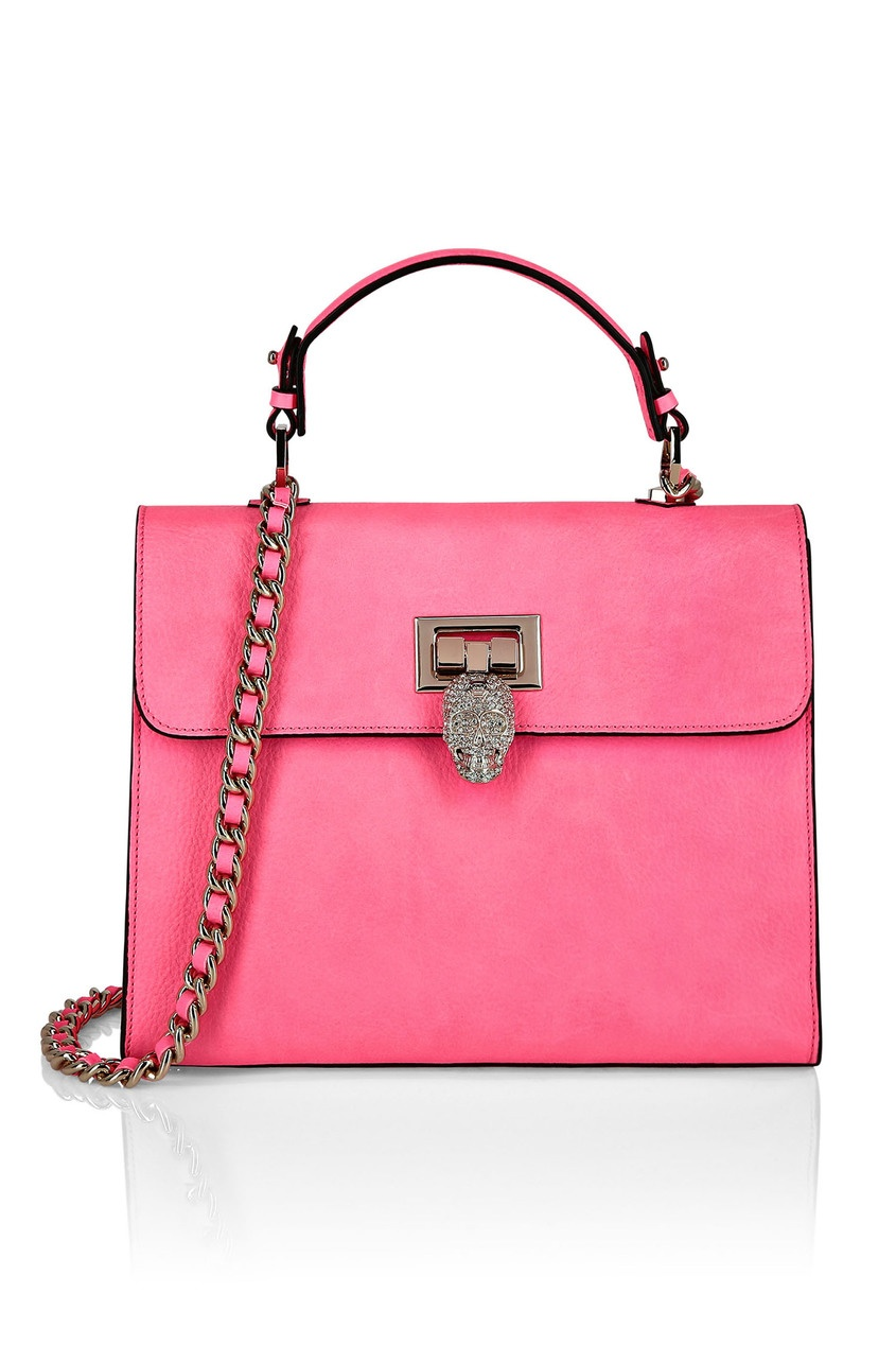 женская кожаные сумка philipp plein, розовая