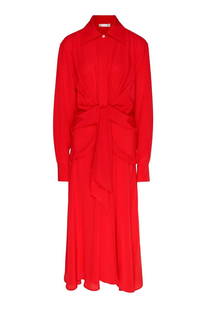 женское шелковые платье victoria beckham, красное