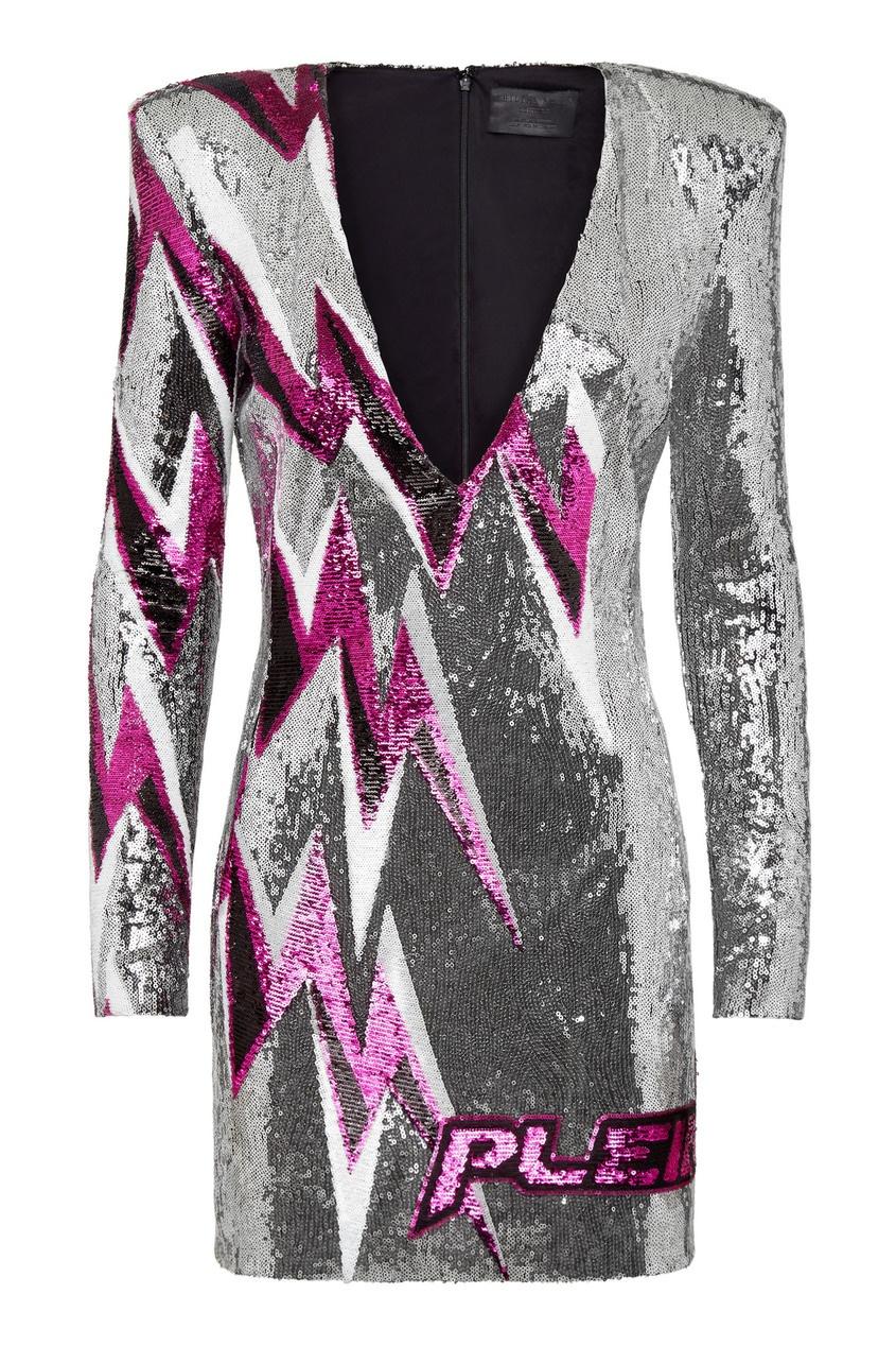 женское платье мини philipp plein, серебряное