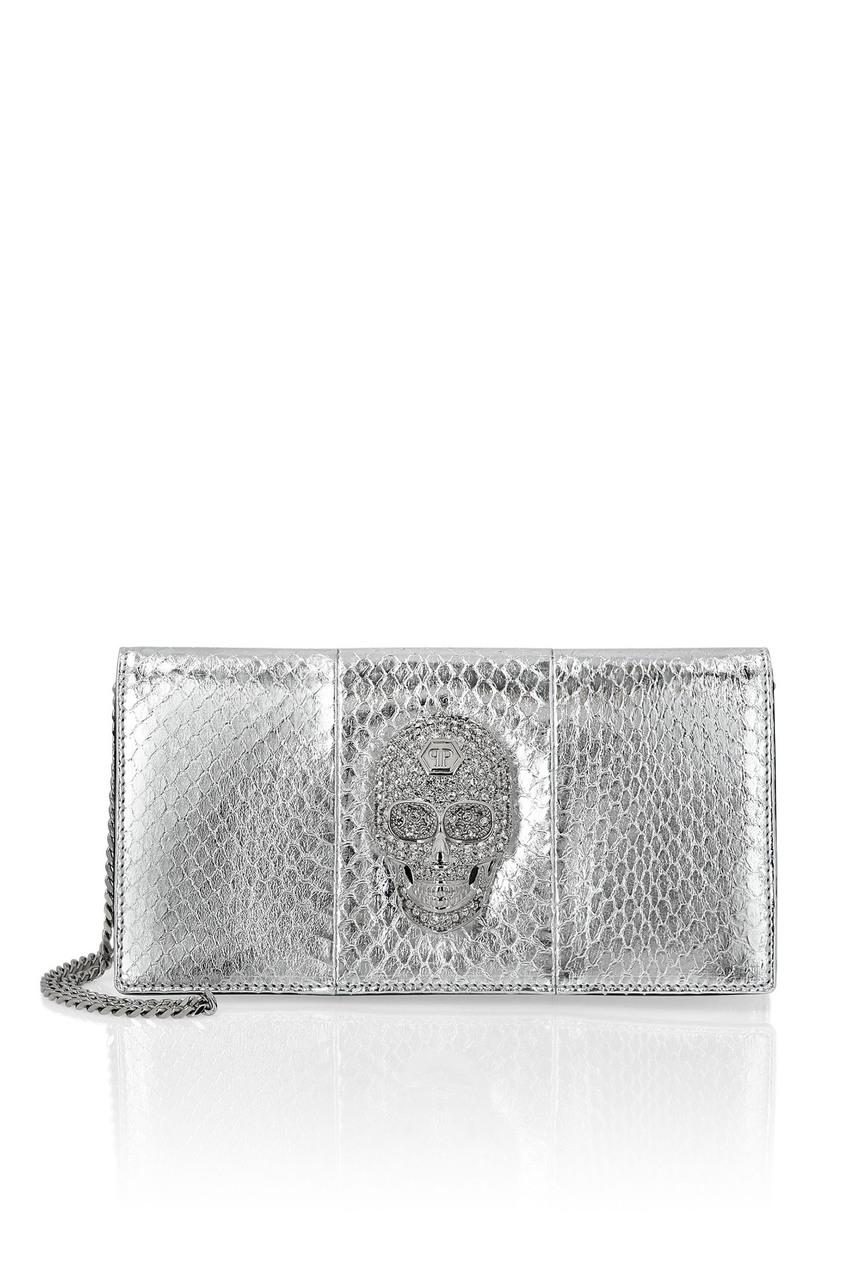 женская кожаные сумка philipp plein, серебряная