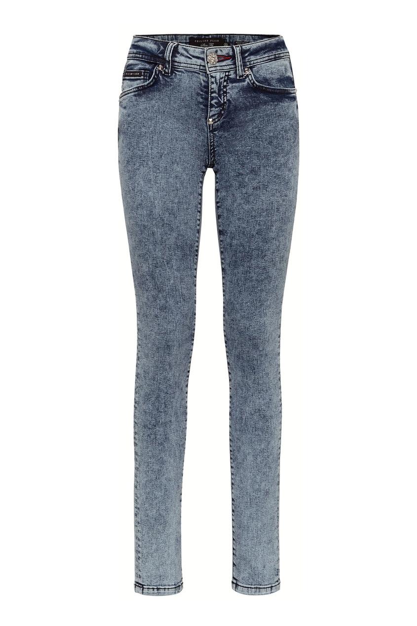 женские джинсы скинни philipp plein, голубые
