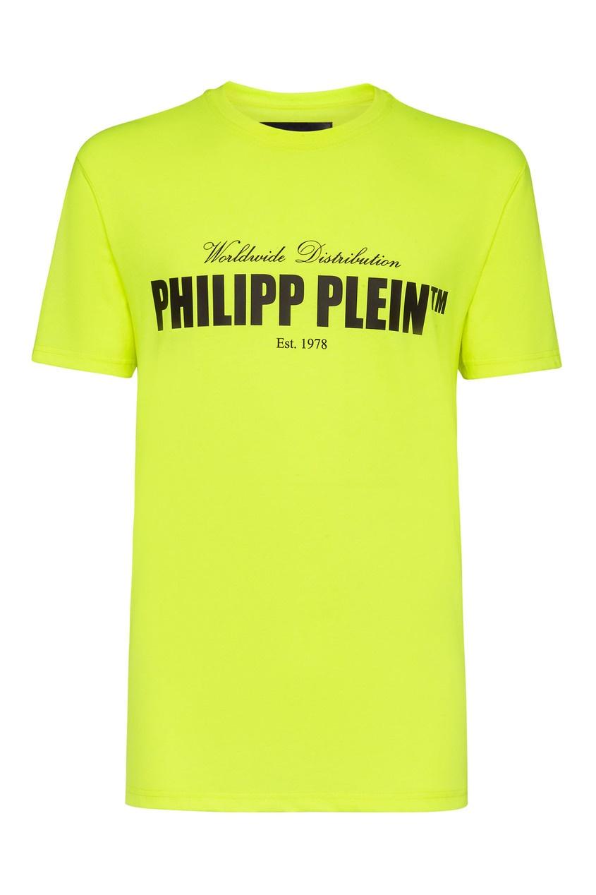 мужская футболка philipp plein, желтая