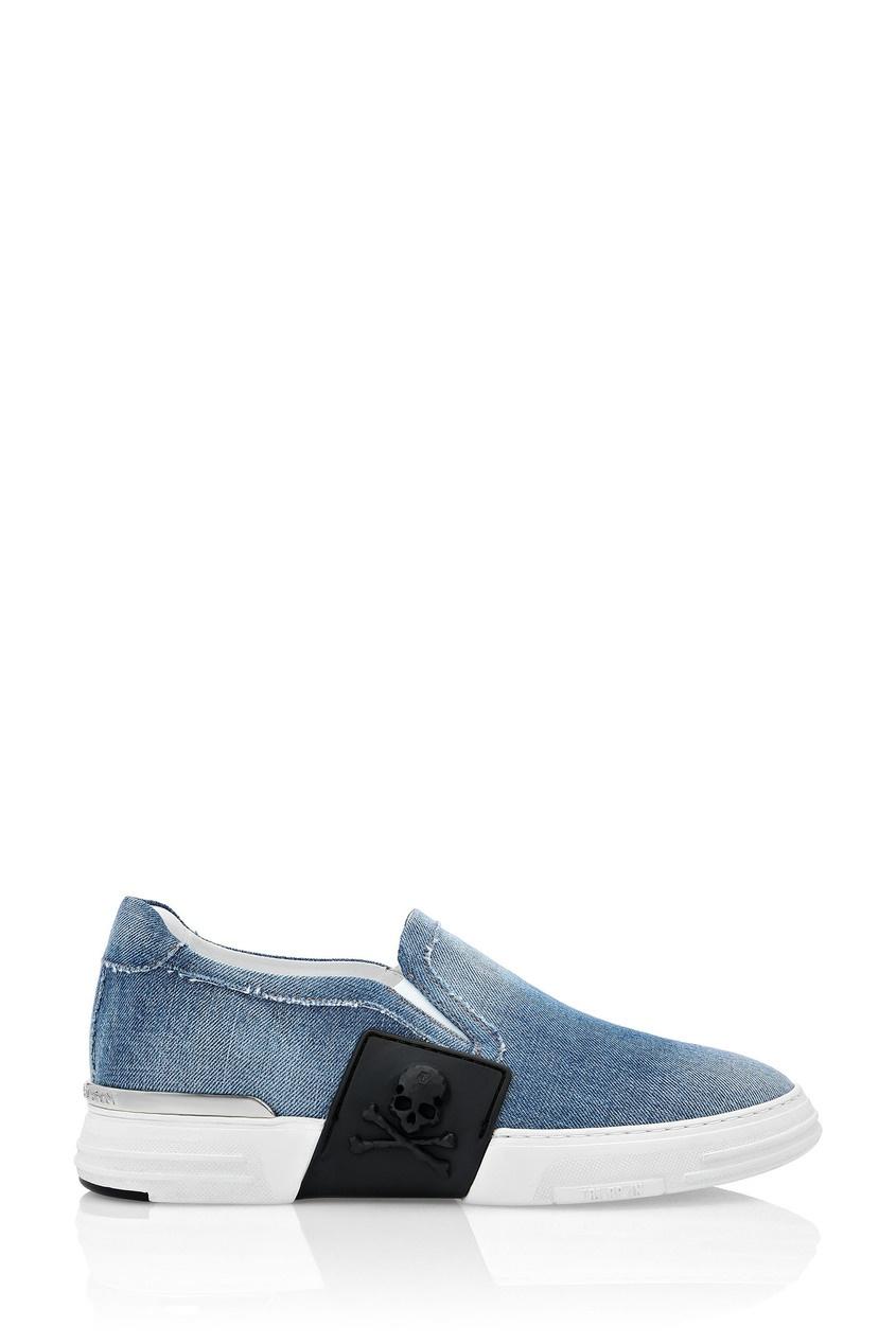 Синие джинсовые слипоны Philipp Plein