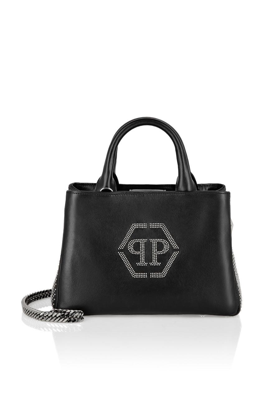 женская кожаные сумка philipp plein, черная