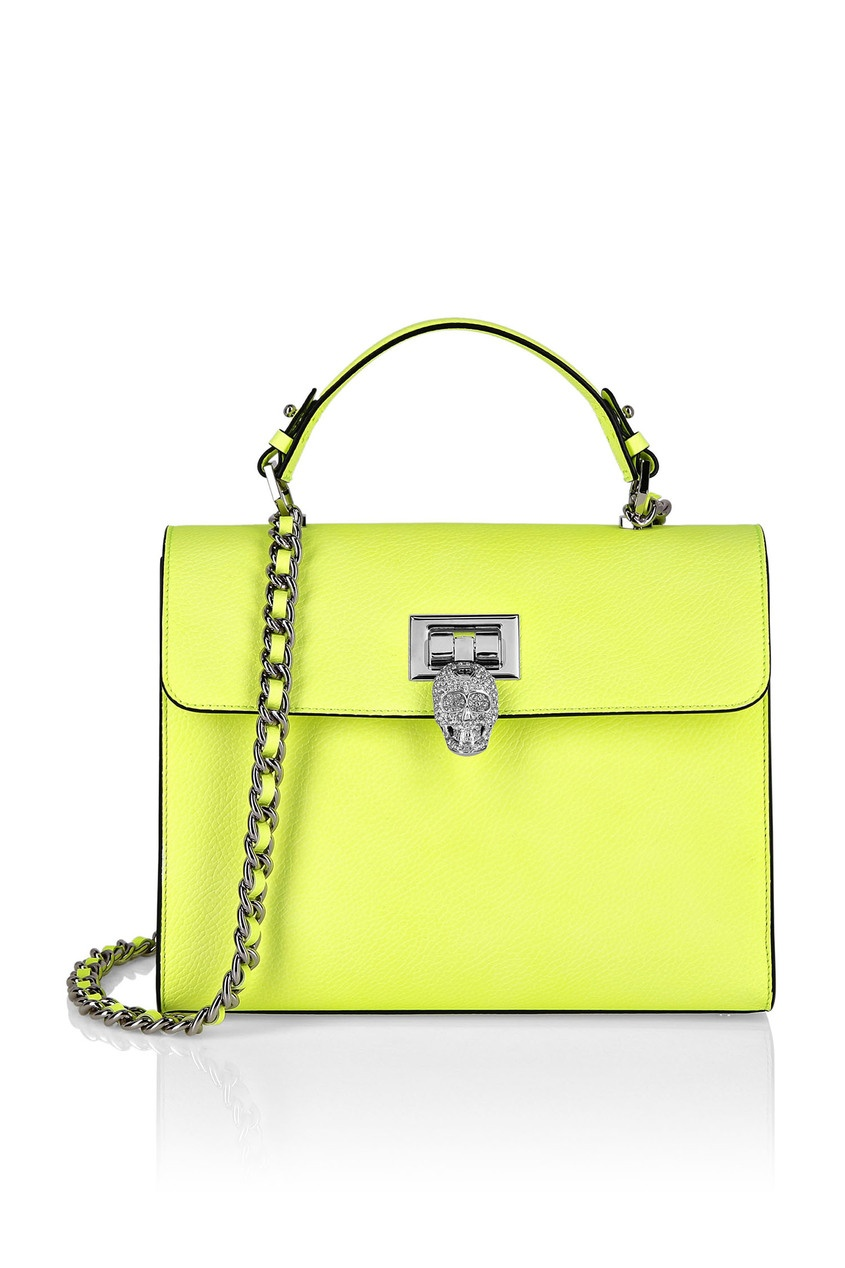 женская кожаные сумка philipp plein, желтая