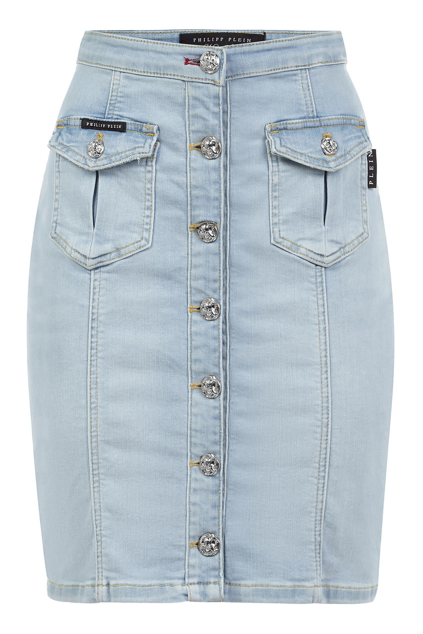 женская джинсовые юбка philipp plein, голубая