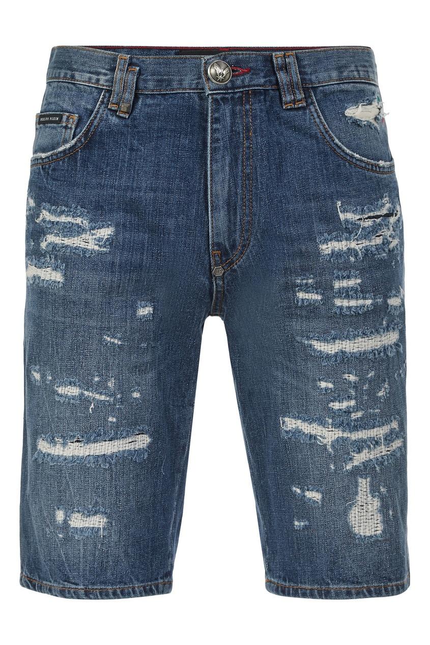 мужские джинсовые шорты philipp plein, голубые