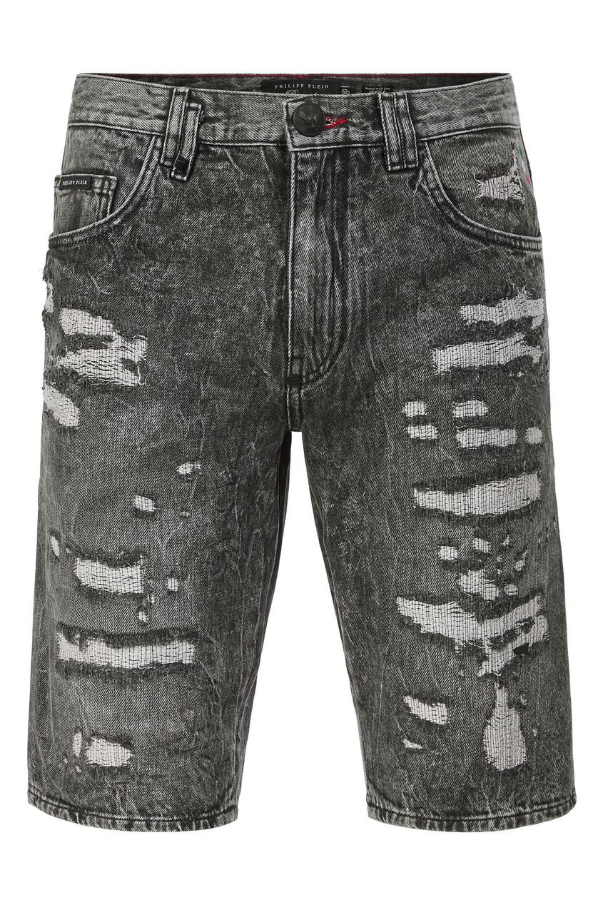 мужские джинсовые шорты philipp plein, серые