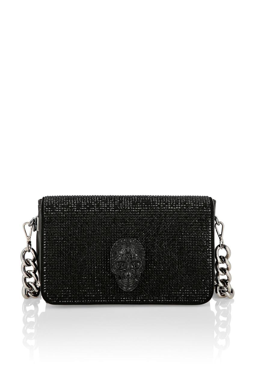 женская сумка-кроссбоди philipp plein, черная