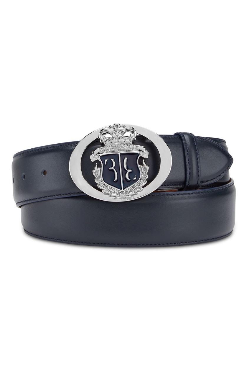 Темно-синий ремень с гербом Billionaire