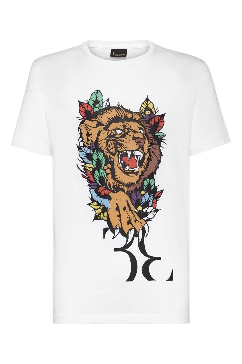 мужская футболка с принтом billionaire, белая