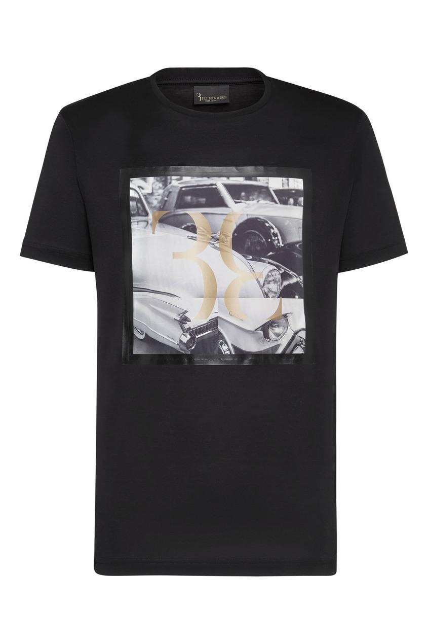 мужская футболка с рисунком billionaire, черная