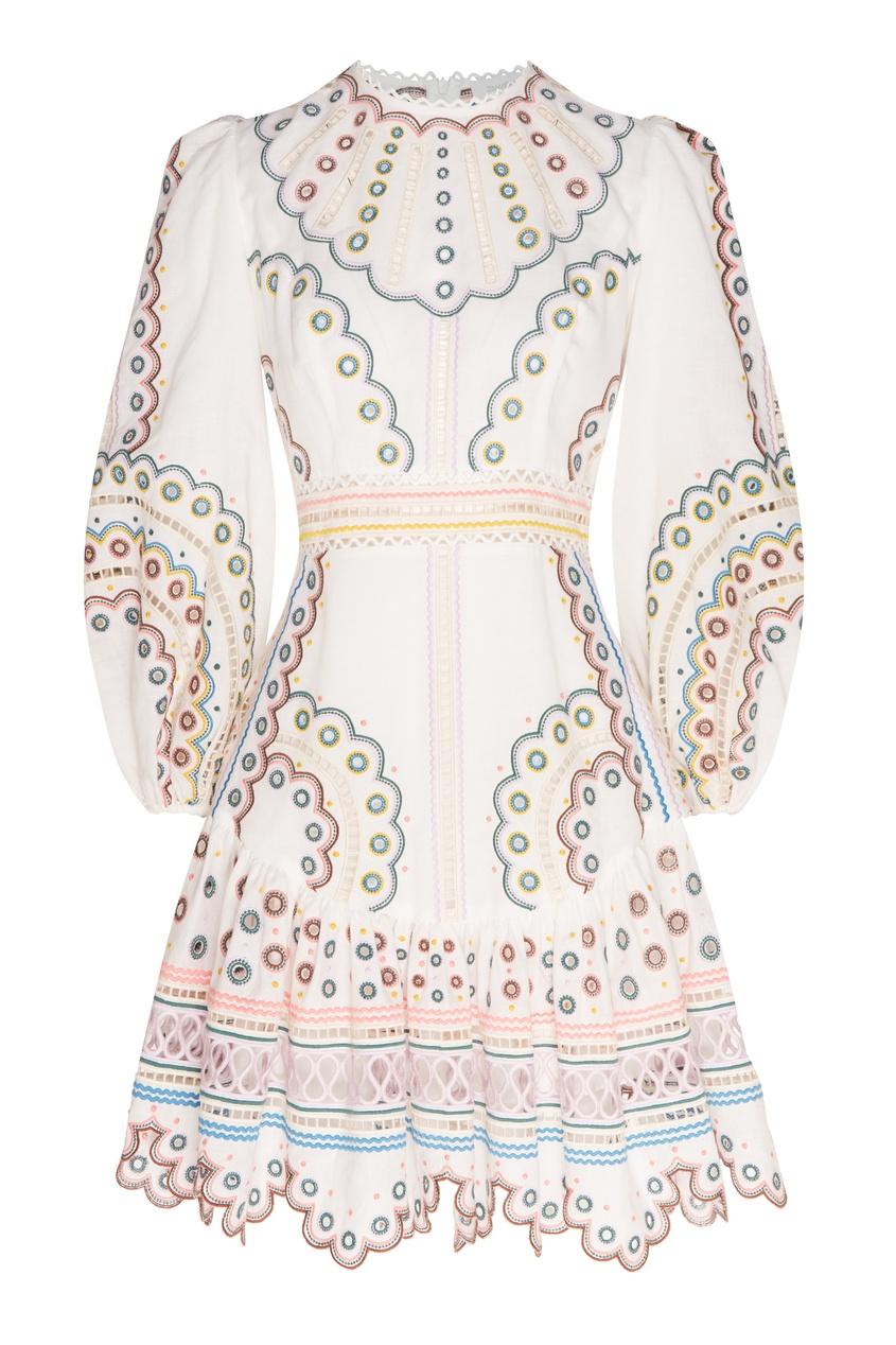 женское платье мини zimmermann, бежевое