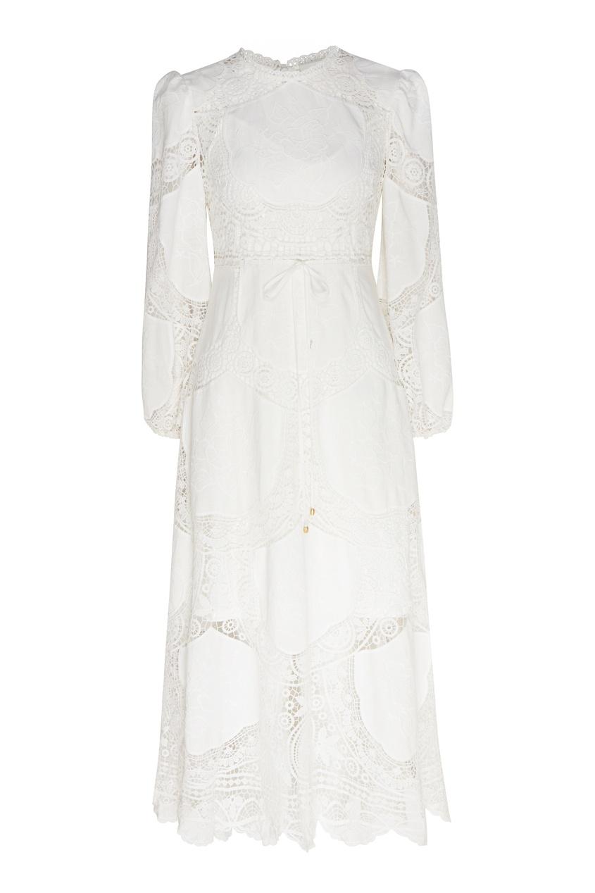 женское платье миди zimmermann, бежевое