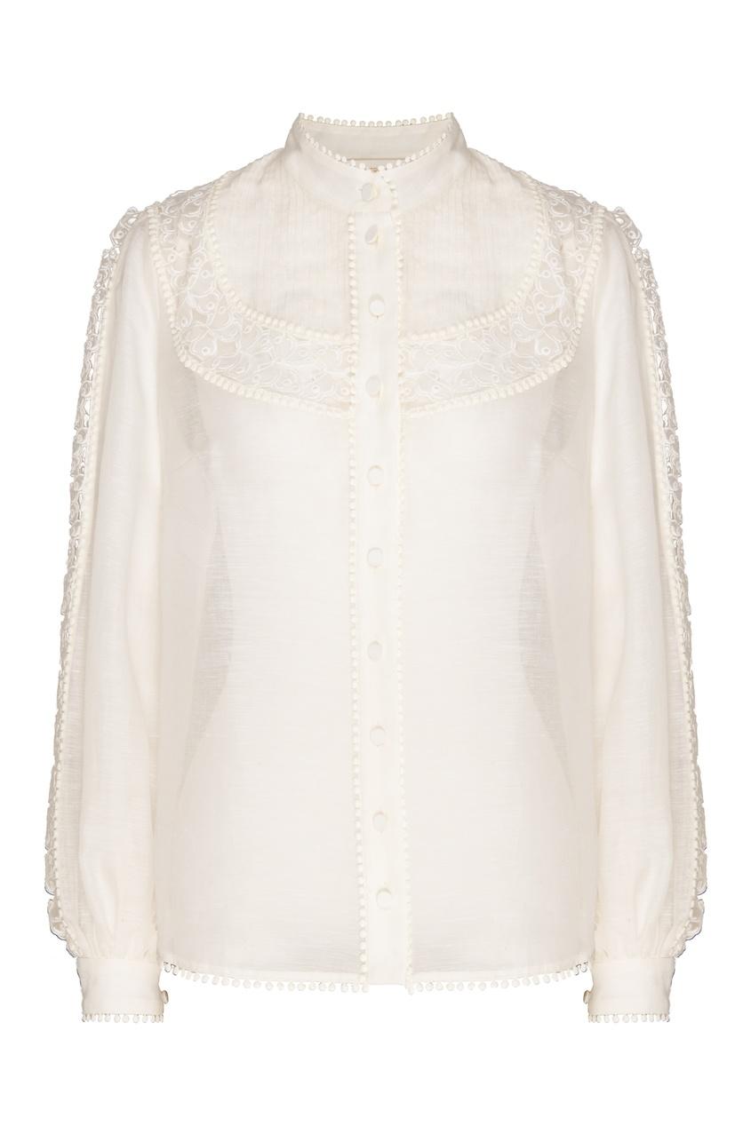 женская кружевные блузка zimmermann, бежевая