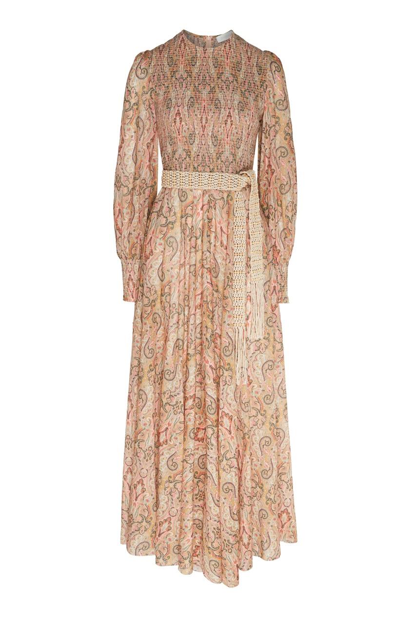 женское платье макси zimmermann, коричневое