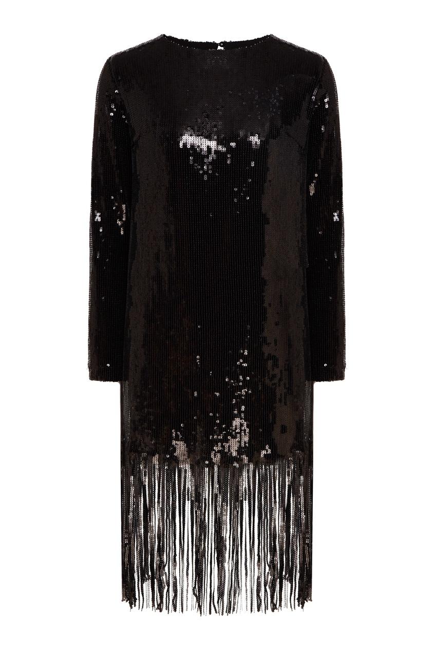 Черное платье мини с пайетками.