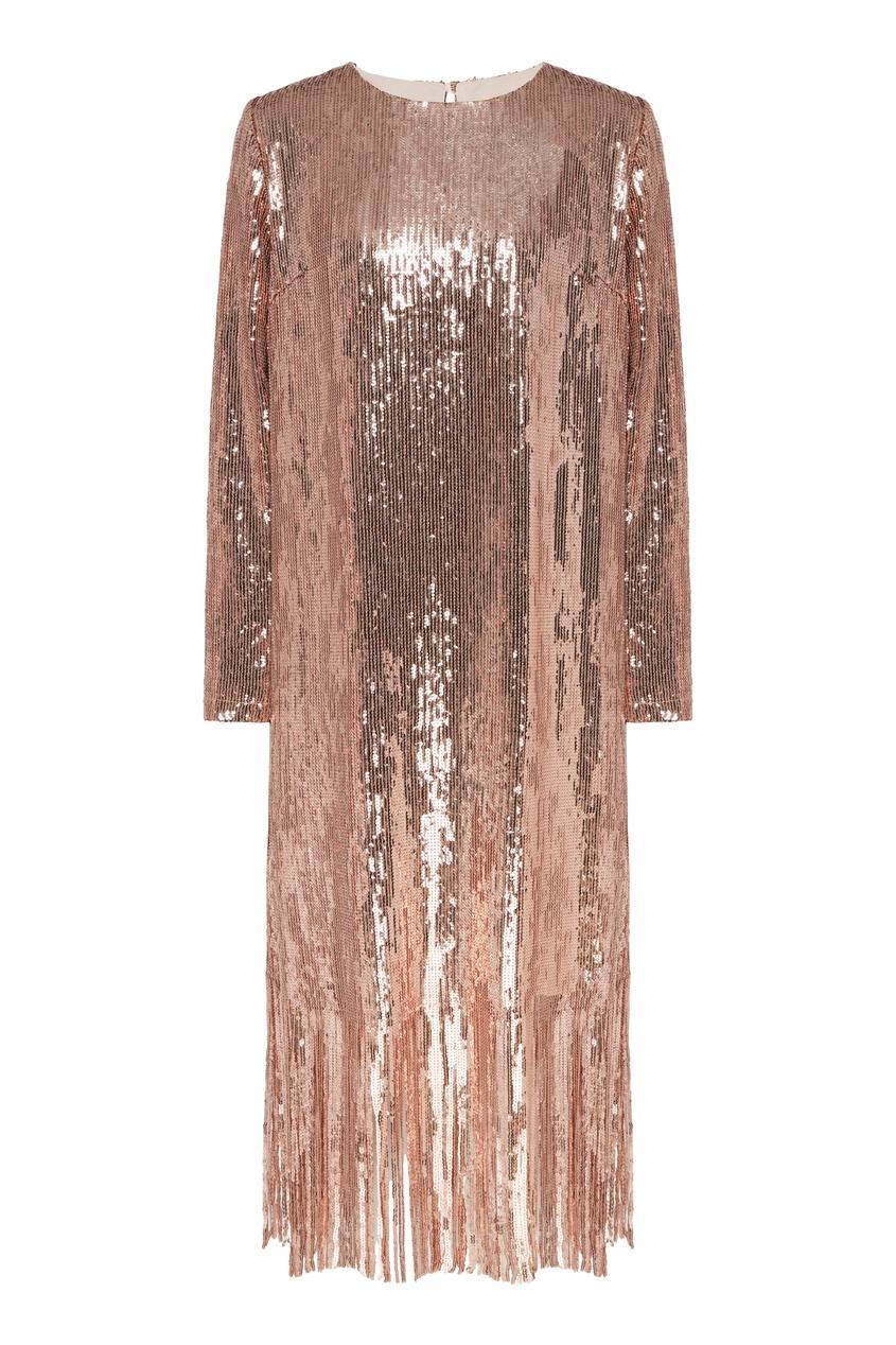 Платье мини с пайетками и бахромой.
