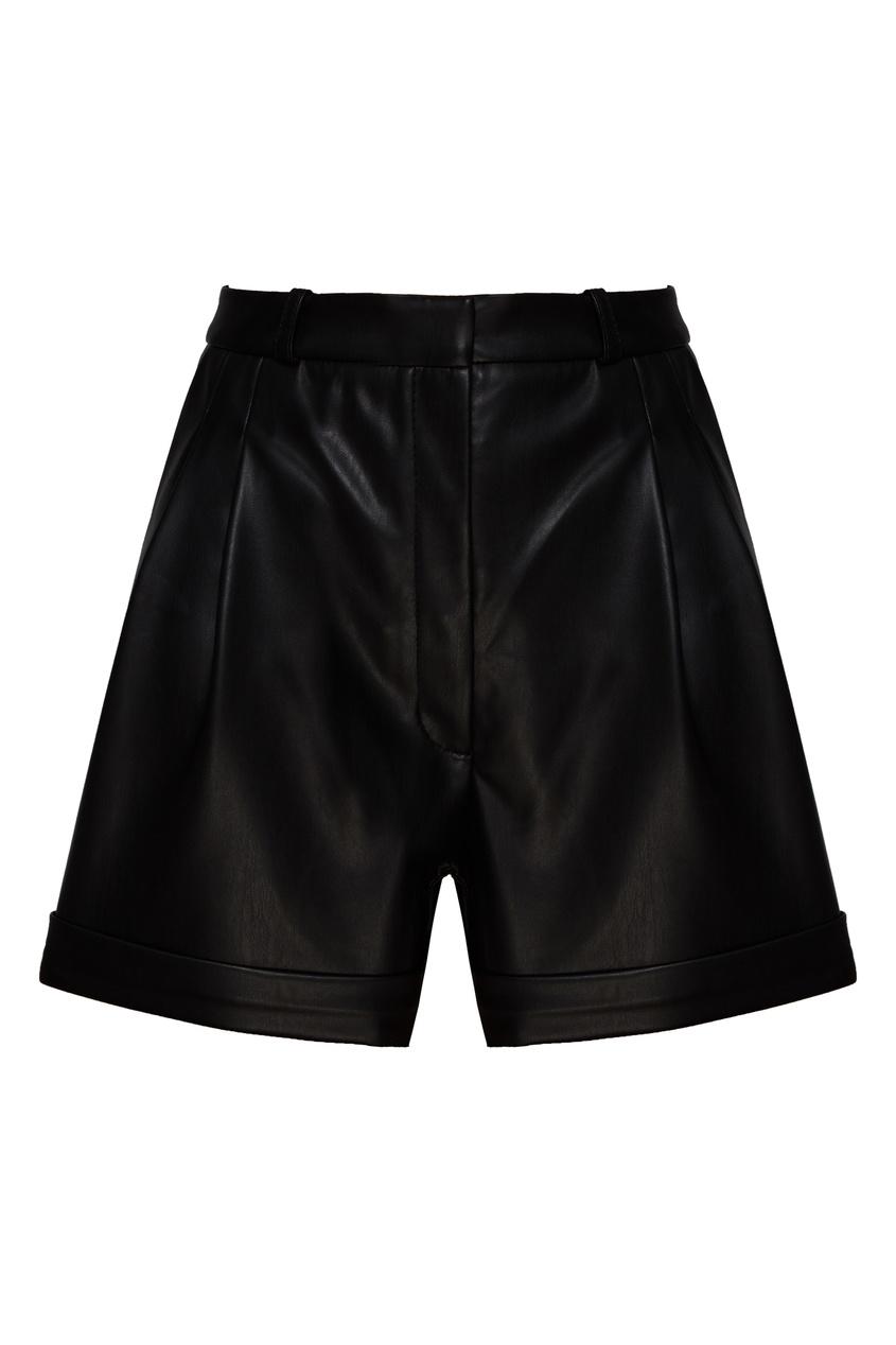 женские кожаные шорты beribegi, черные