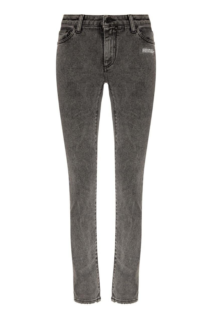 женские джинсы скинни off-white, серые