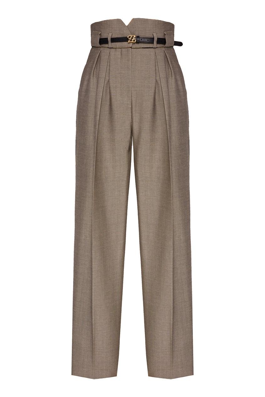 женские брюки с высокой посадкой fendi, синие