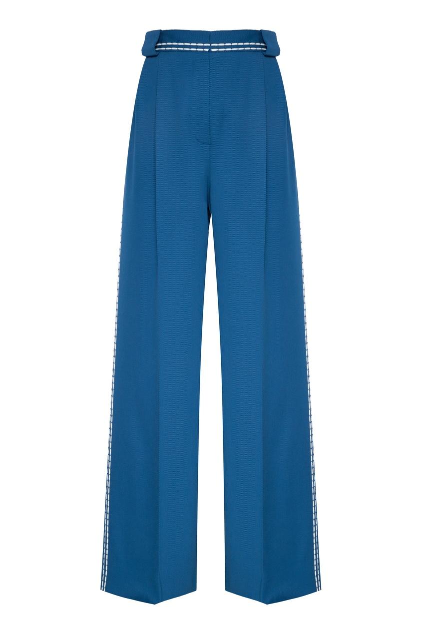 женские шерстяные брюки fendi, синие