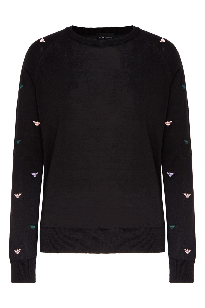 женский пуловер emporio armani, черный
