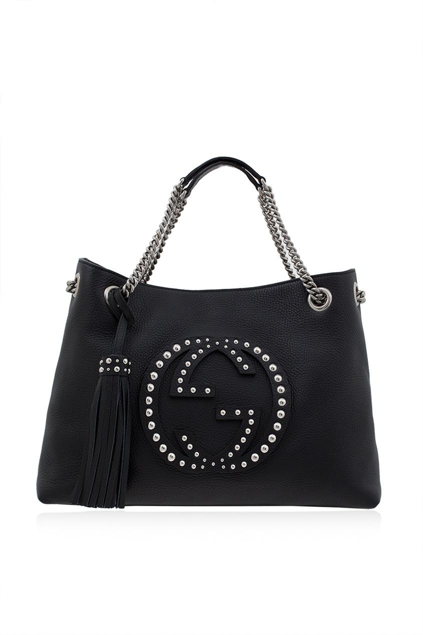 Фото 6 - Кожаная сумка Soho черная от Gucci черного цвета