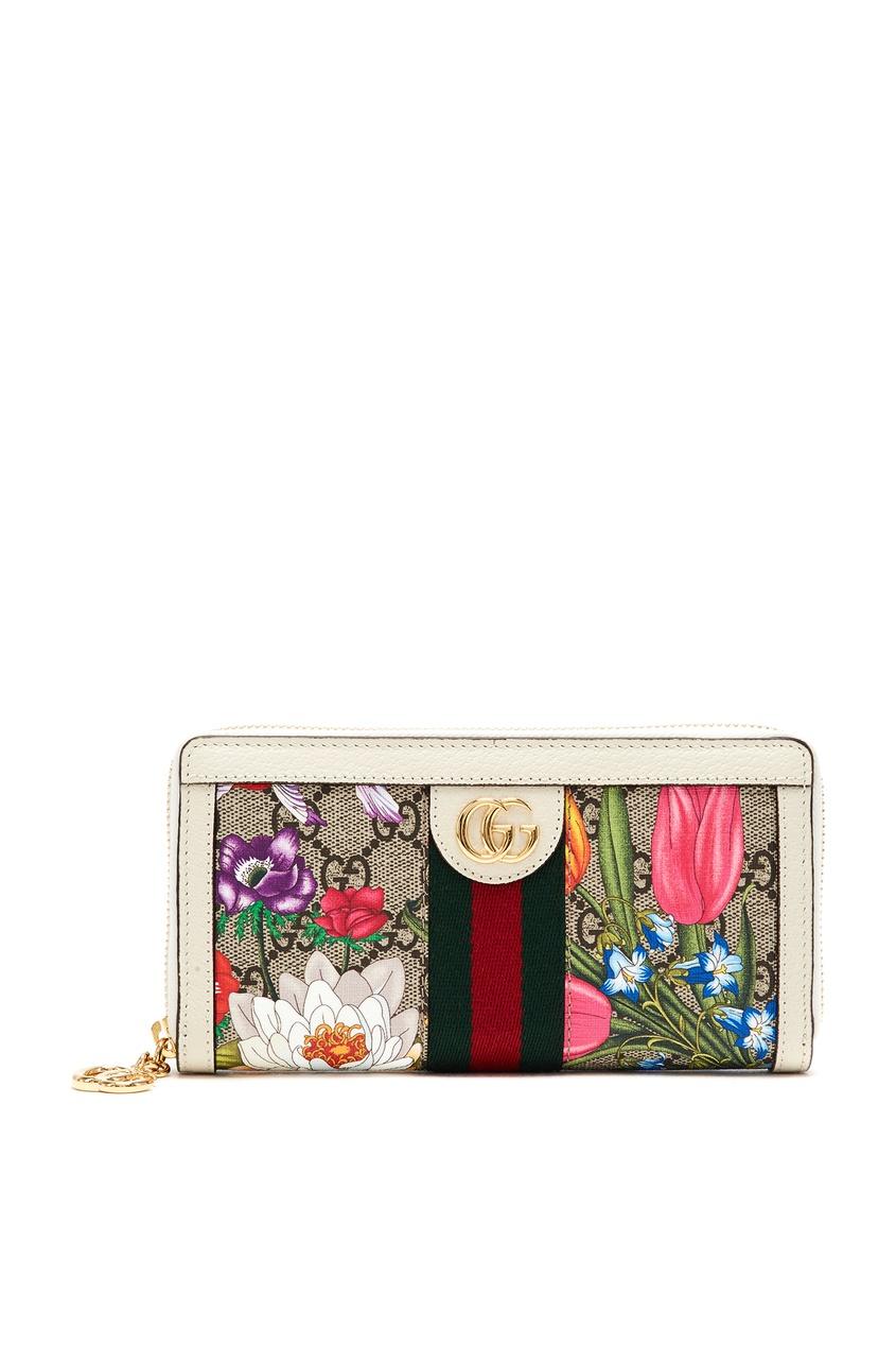 Прямоугольный кошелек GG Supreme Flora Ophidia Gucci