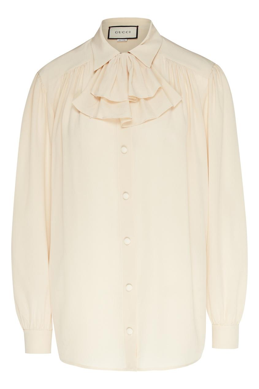 женская шелковые блузка gucci, белая
