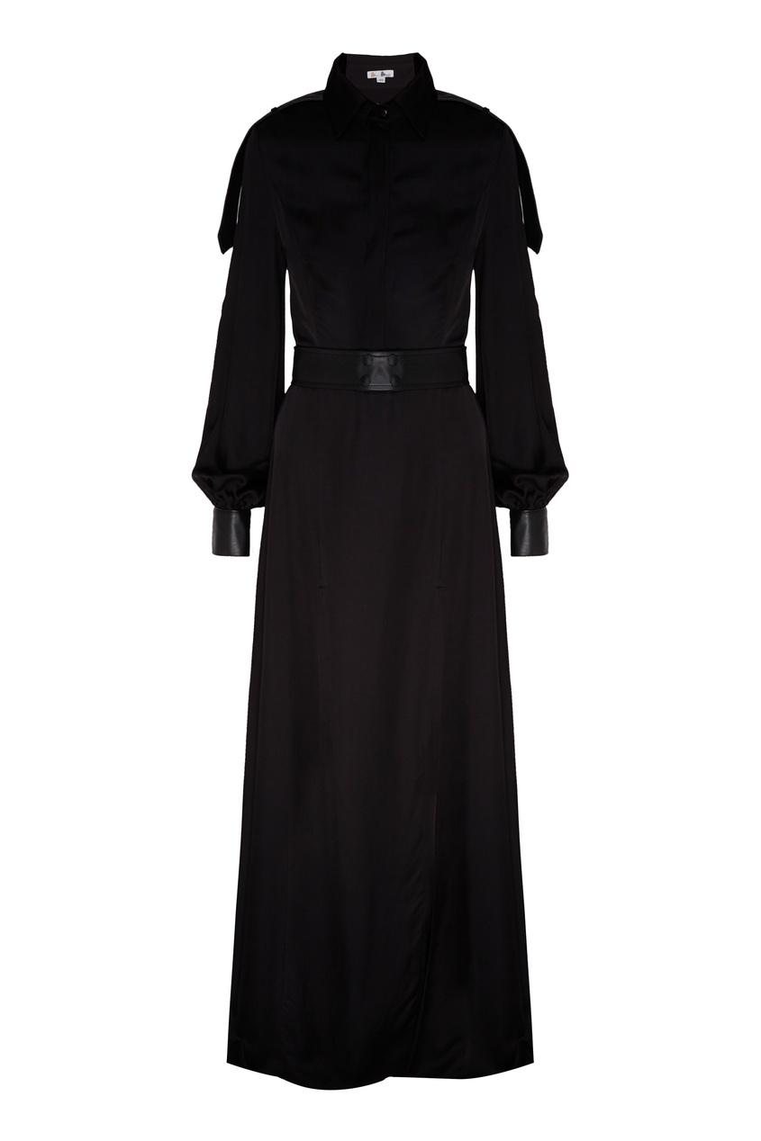 Платье макси с кожаной отделкой.