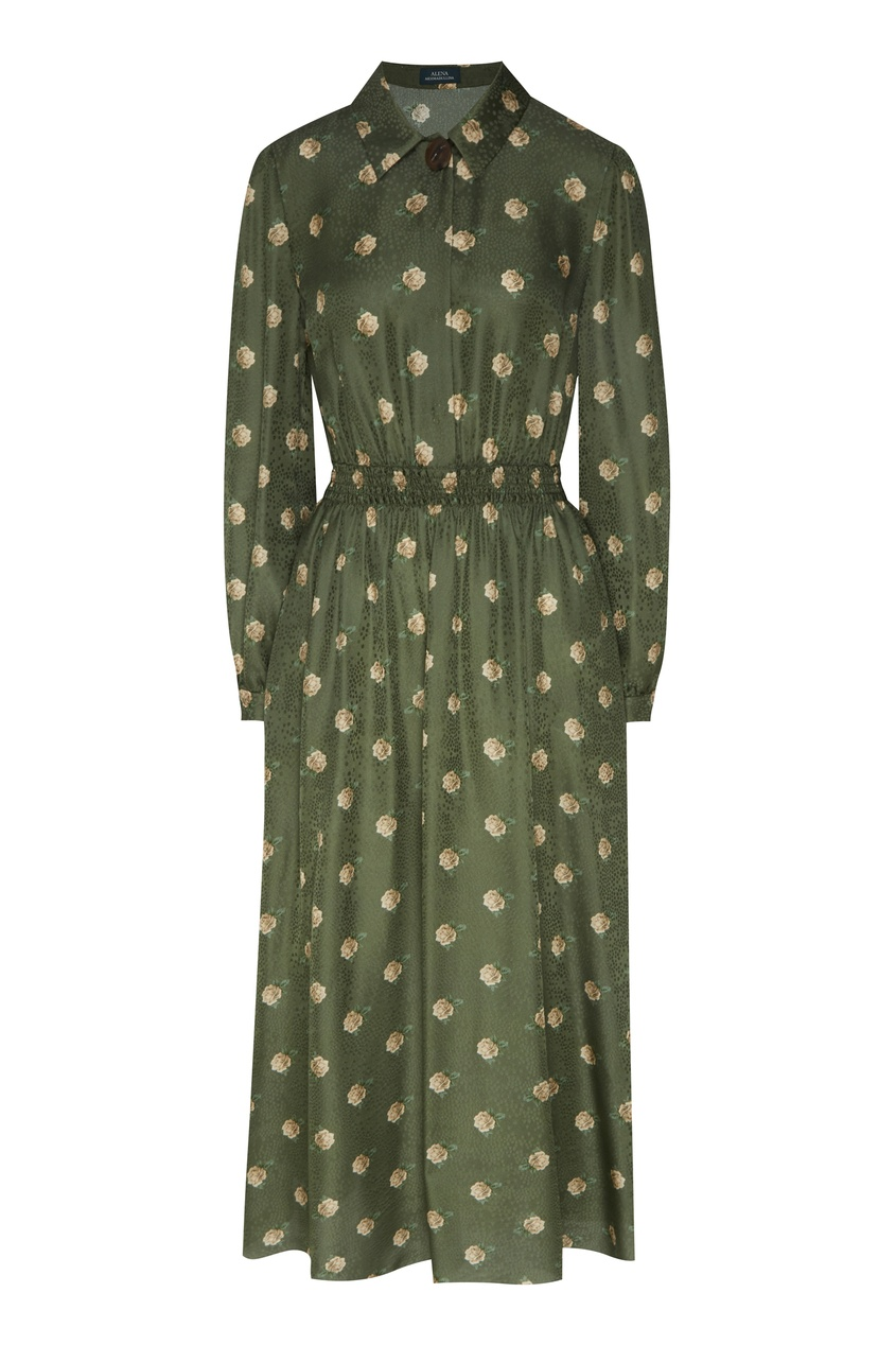 Зеленое платье-рубашка с цветочным принтом от Alena Akhmadullina