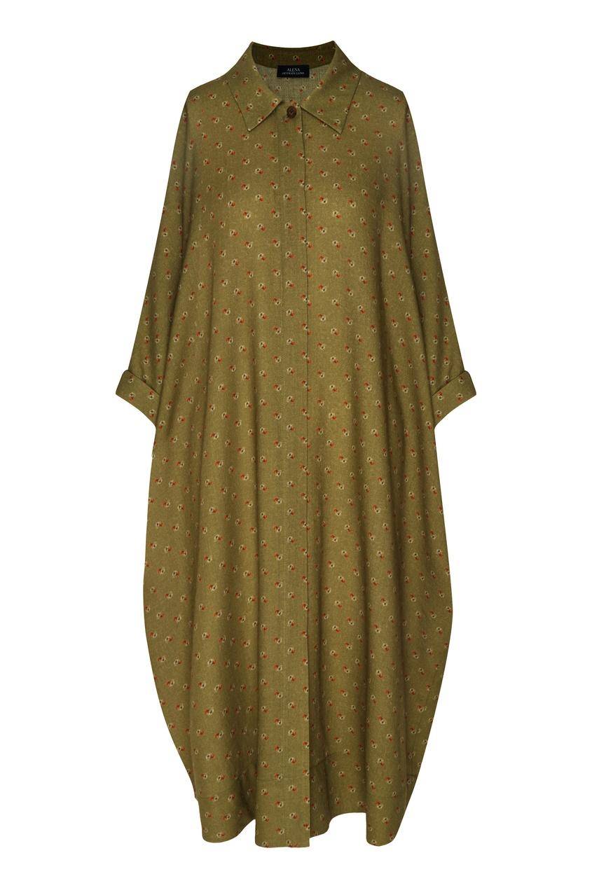 Оливковое платье-рубашка с цветочным принтом от Alena Akhmadullina