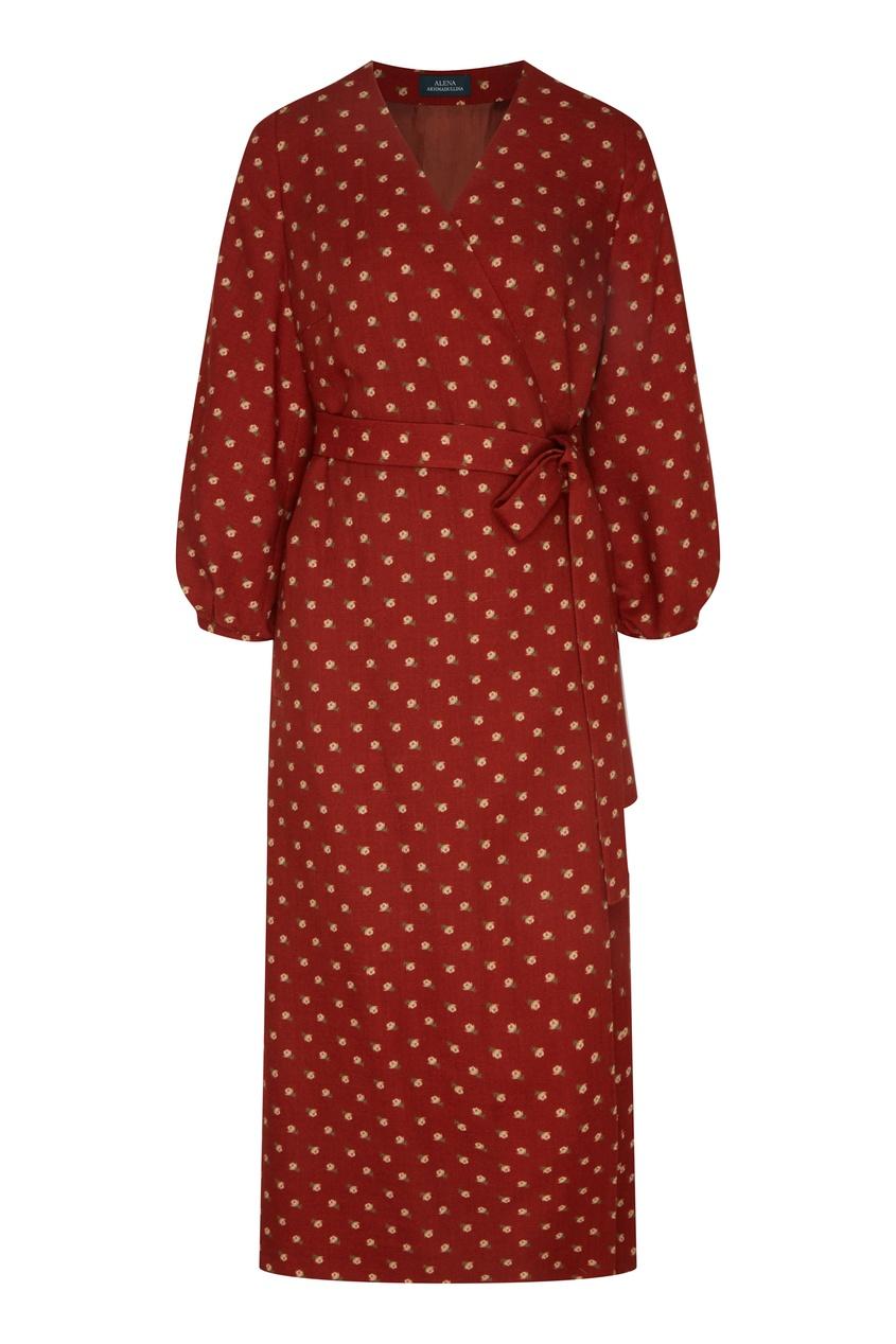 Красное платье миди с цветочным принтом от Alena Akhmadullina