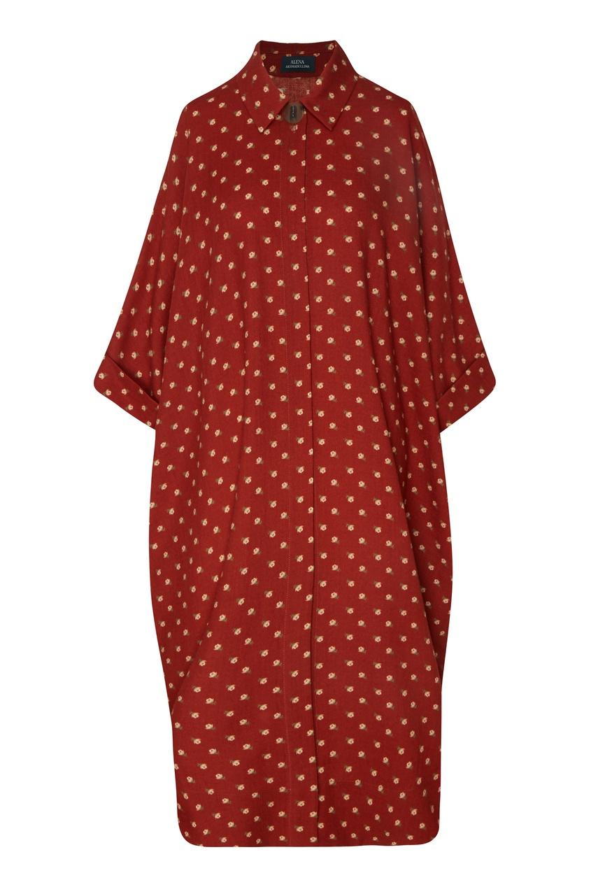 Красное платье-рубашка с цветочным принтом от Alena Akhmadullina