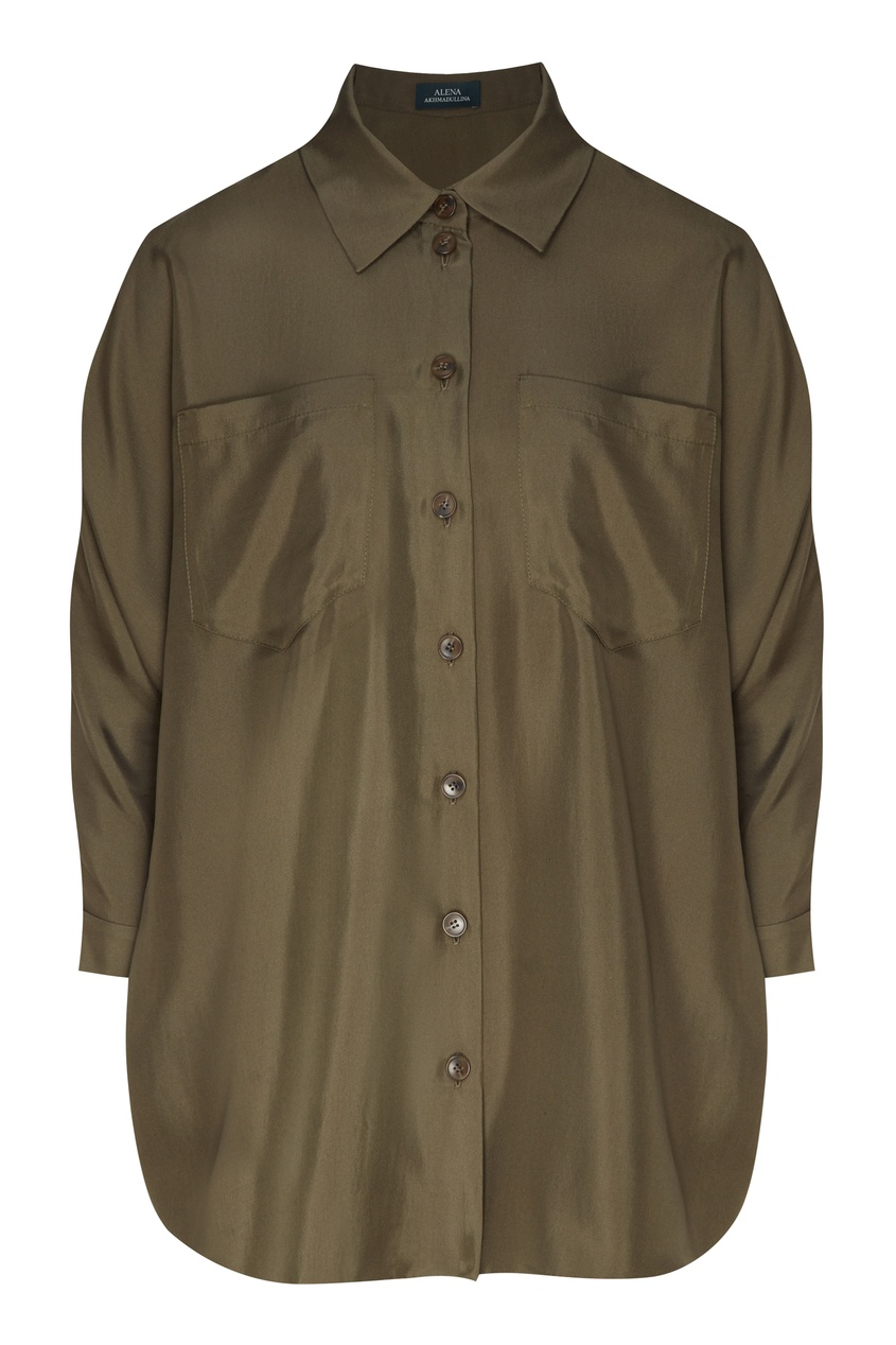 Шелковая рубашка цвета хаки от Alena Akhmadullina