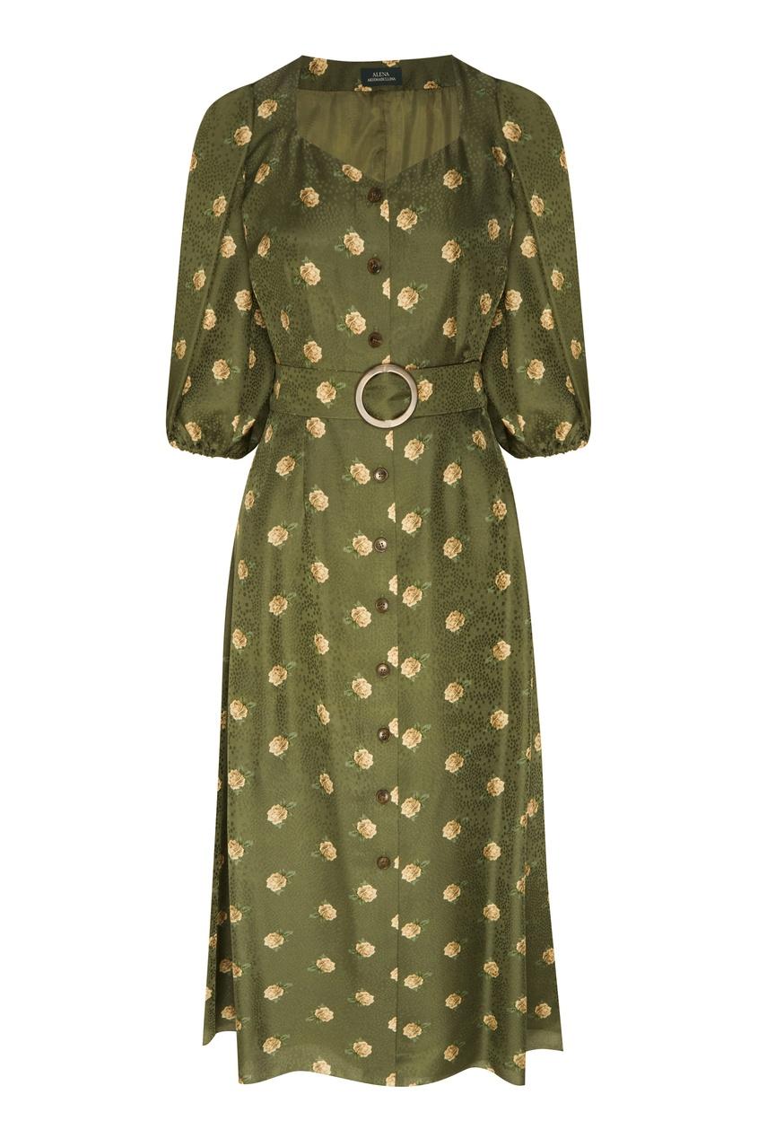 Зеленое платье миди с цветочным принтом от Alena Akhmadullina