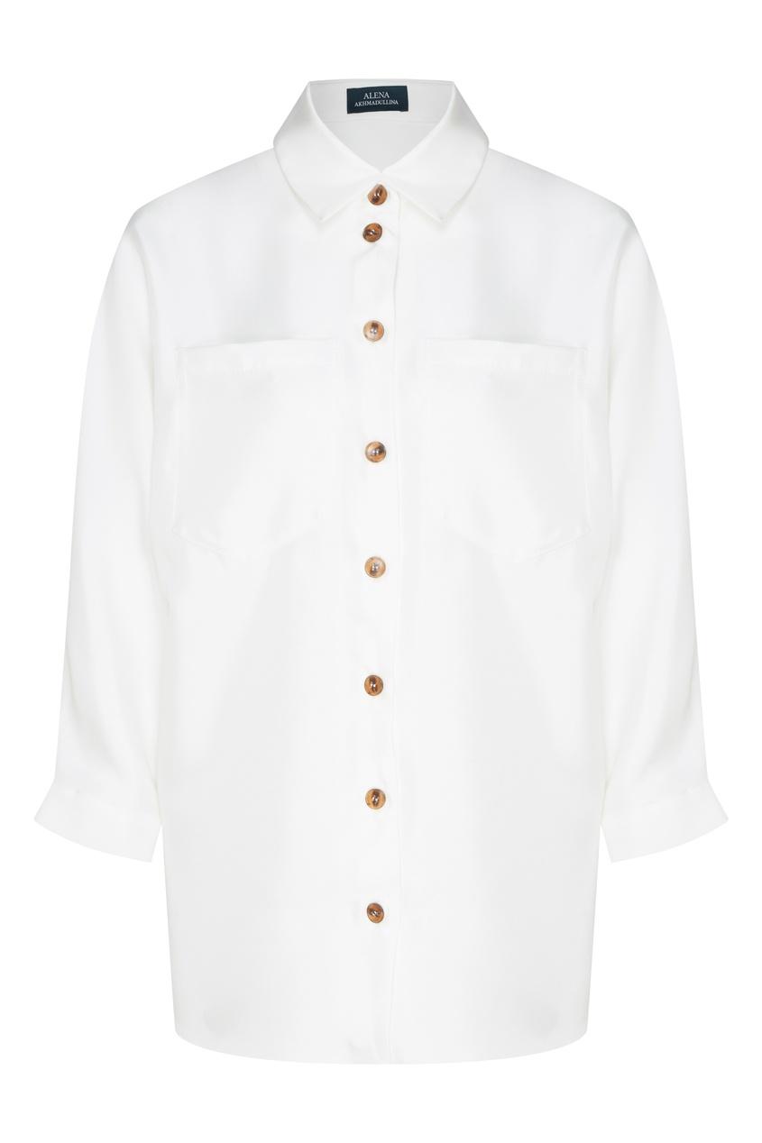Белая шелковая блуза с контрастными пуговицами от Alena Akhmadullina