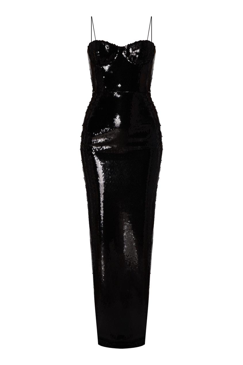 Черное платье-комбинация с пайетками