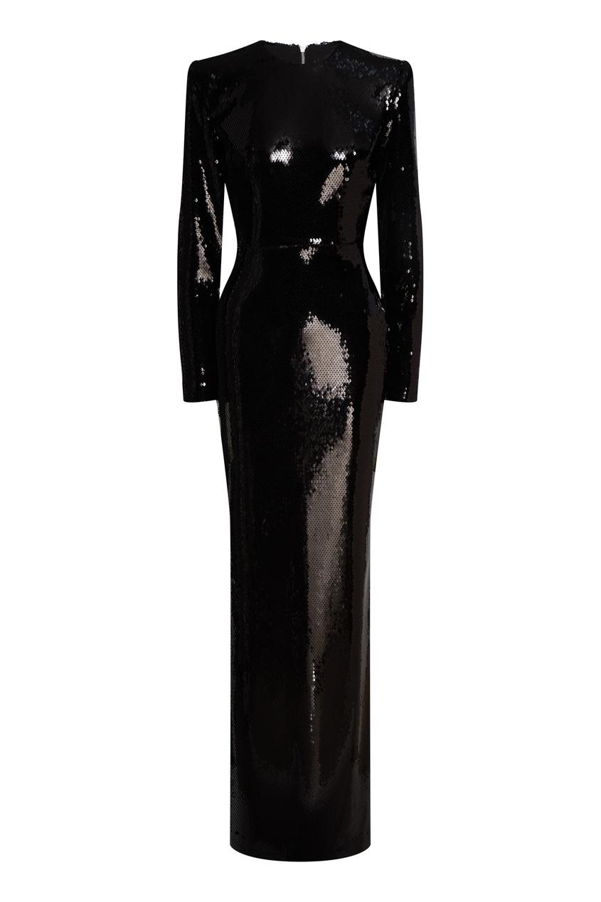 Черное платье макси с пайетками