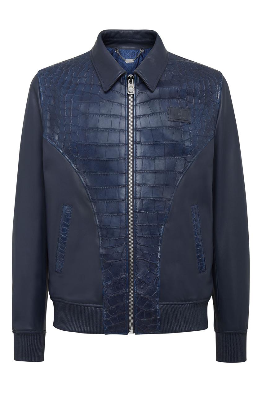 мужская кожаные куртка billionaire, синяя