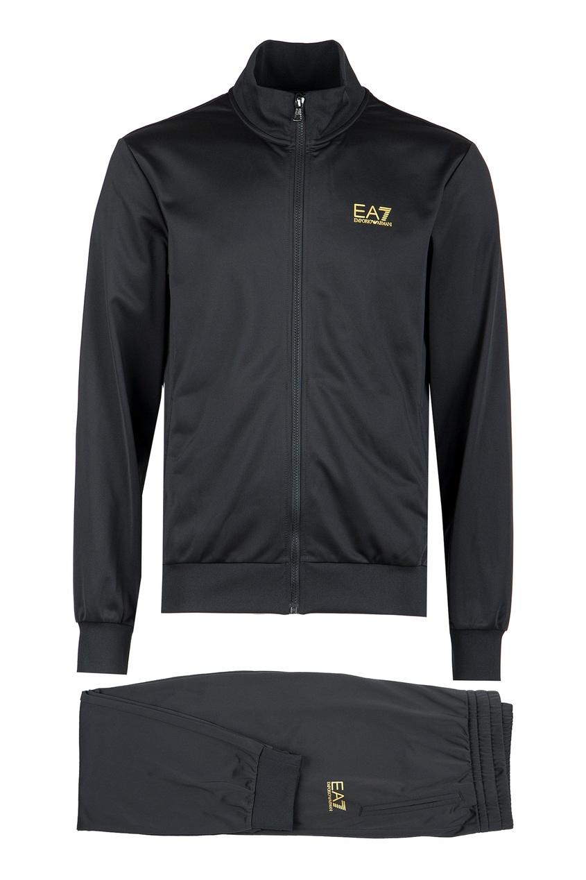 Черный спортивный костюм с принтами EA7