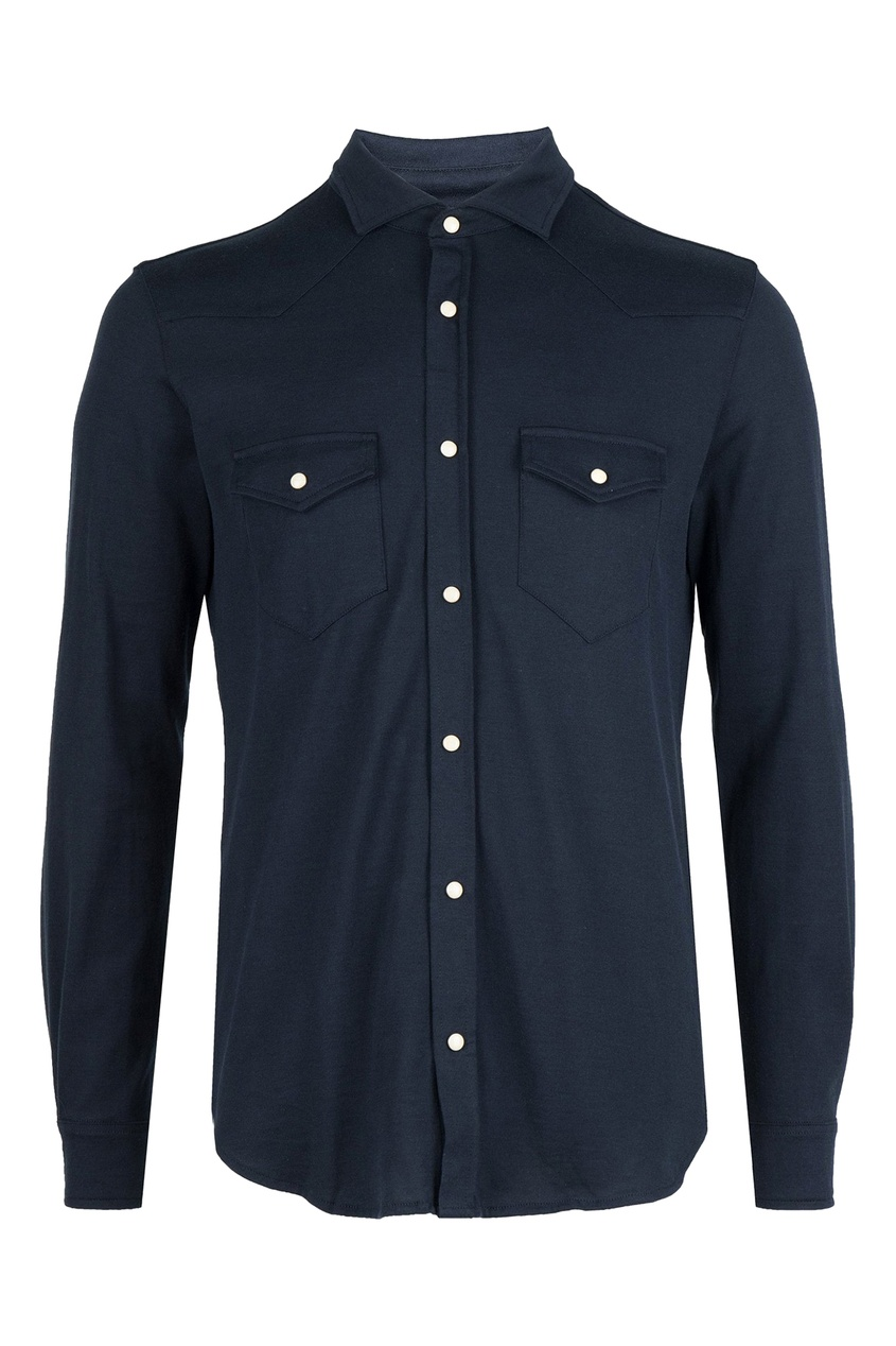 Синяя хлопковая рубашка от Eleventy