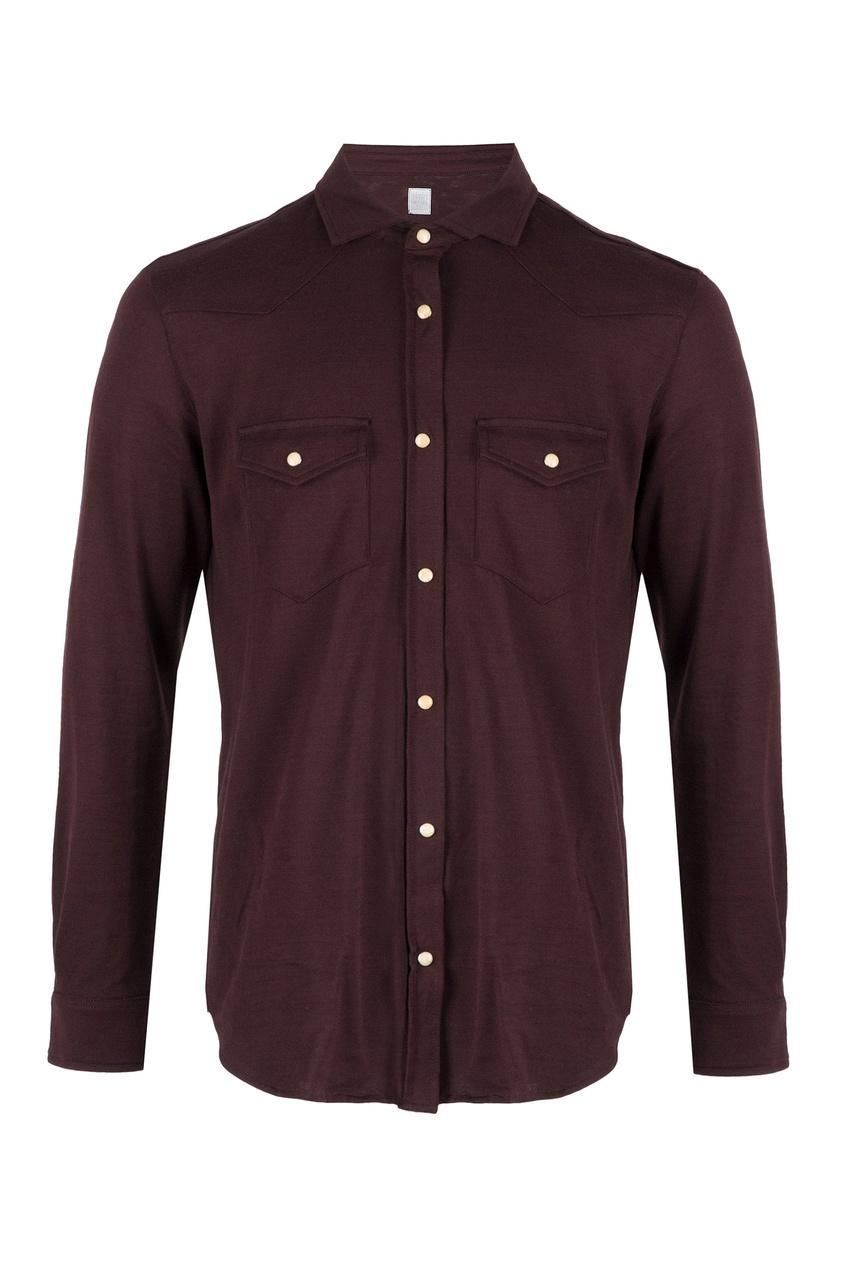 мужская рубашка eleventy, бордовая