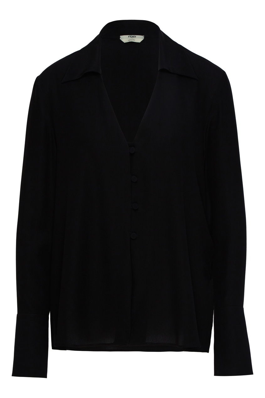 женская блузка с v-образным вырезом fendi, черная