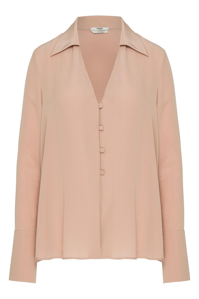 женская блузка с v-образным вырезом fendi, бежевая