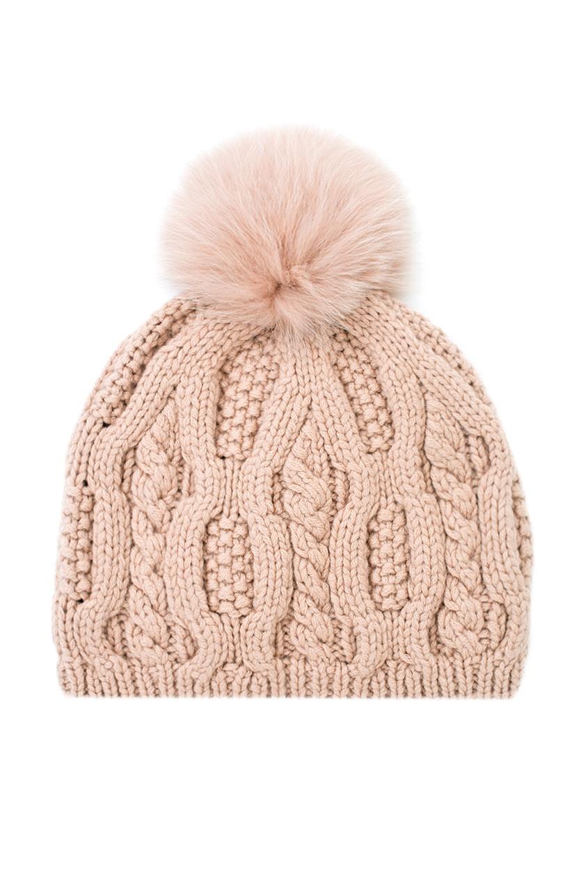 Кашемировая шапка с мехом лисы